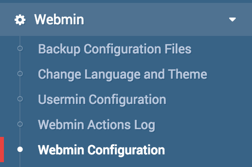 Webmin Configuration Link